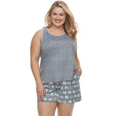 Plus Size Croft & Barrow® Printed Tank & Shorts Pajama Set