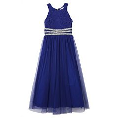 Girls 7-16 Speechless Rhinestone Waistband Floral Lace Bodice Dress