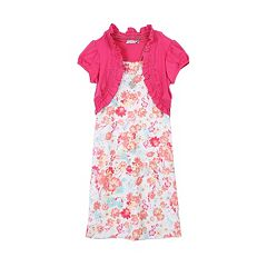 Girls 7-16 Speechless Mock-Layered Cardigan Floral Dress with Necklace