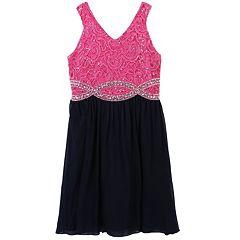 Girls 7-16 Speechless Rhinestone Infinity Waistline Dress