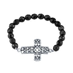 1928 Black Beaded Filigree Cross Stretch Bracelet