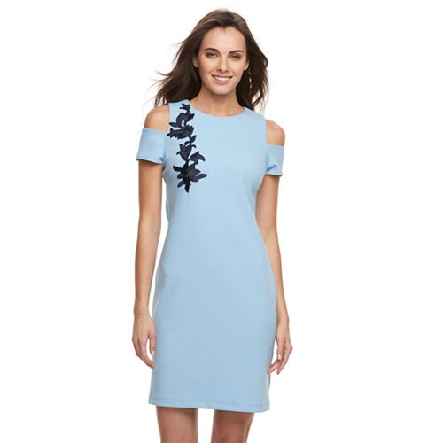 3104cff60d6 Women s Sharagano Embroidered Cold-Shoulder Midi Dress