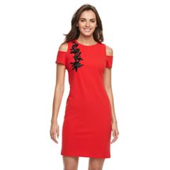 Women's Sharagano Embroidered Cold-Shoulder Midi Dress