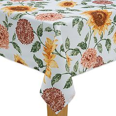 Celebrate Fall Together Sunflower Mum Print Tablecloth