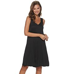 Womens' Nina Leonard V-Neck Knit Trapeze Dress