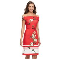 Women's Sharagano Floral Off-the-Shoulder Dress