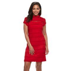 b29cbca9235 Women s Sharagano Lace Sheath Dress. Red Navy