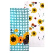 Celebrate Fall Together Sunflower Gingham Kitchen Towel 2-pack