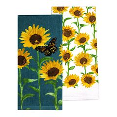 Celebrate Fall Together Sunflower Print Kitchen Towel 2-pack