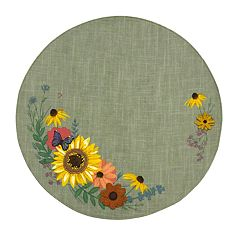 Celebrate Fall Together Round Sunflower Applique Placemat