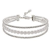 Napier Simulated Crystal & Simulated Pearl Triple Row Bracelet