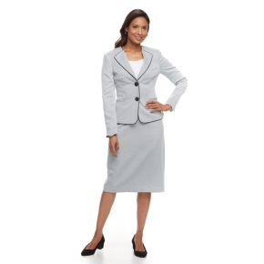 Women's Le Suit Piped-Trim Skirt Suit