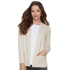 Petite Croft & Barrow® Classic Open Front Cardigan