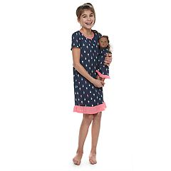 Girls 4-14 Jammies For Your Families Ice Cream Cone Nightgown & Doll Gown Set