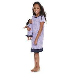 Girls 4-14 Jammies For Your Families Arrows & Hearts Nightgown & Doll Gown Set