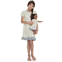 Girls 4-14Jammies For Your Families Bee Print Nightgown & Doll Gown Set