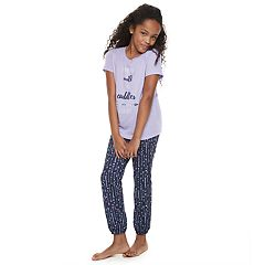 Girls 4-14 Jammies For Your Families 'I Run On Milk and Cuddles #KIDLIFE' Tee & Arrow Bottoms Pajama Set