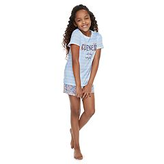 Girls 4-14 Jammies For Your Families 'Cuteness All Day Everyday' Striped Tee & Floral Shorts Pajama Set
