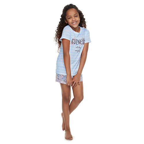 "Girls 4-14 Jammies For Your Families ""Cuteness All Day Everyday"" Striped Tee & Floral Shorts Pajama Set"