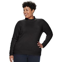 Plus Size Napa Valley Long Sleeve Mock Neck Sweater