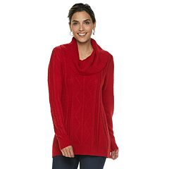 Petite Napa Valley Cable-Knit Cowlneck Sweater