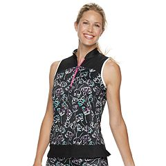 Women's Grand Slam Watercolor Floral Print Sleeveless Golf Polo