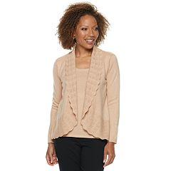 Petite Napa Valley Scallop Trim Long Sleeve Top