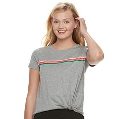 Juniors' Love, Fire Striped Tie-Front Tee
