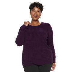 Plus Size Napa Valley Cable-Knit Crewneck Sweater