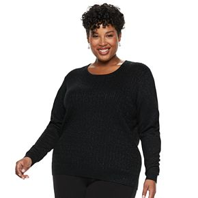 Plus Size Napa Valley Sparkly Cable-Knit Sweater