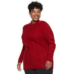 Plus Size Napa Valley Sparkly Mock Neck Sweater