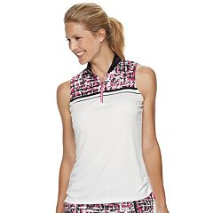 Women's Grand Slam Floral Grid Print Sleeveless Golf Polo