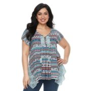 Plus Size World Unity Crochet Flutter Sleeve Top