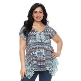 Plus Size World Unity Crochet Flutter Sleeve Top