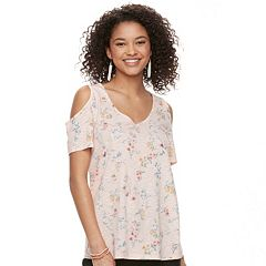 Juniors' SO® Knit Cold-Shoulder Tee
