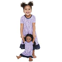 Toddler Girl Jammies For Your Families Arrows & Hearts Nightgown & Doll Gown Set