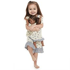 Toddler Girl Jammies For Your Families Bee Print Nightgown & Doll Gown Set