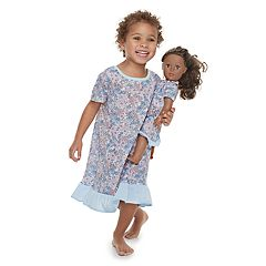 Toddler Girl Jammies For Your Families Floral Nightgown & Doll Gown Set