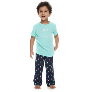 "Toddler Boy Jammies For Your Families ""Luv Ya More Than Ice Cream"" Tee & Bottoms Pajama Set"
