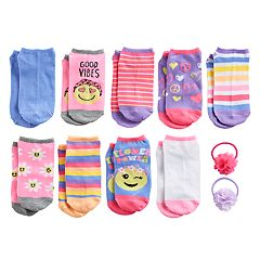 Elli by Capelli Girls 4-16 9-pack No-Show Socks with Pony Tail Holders