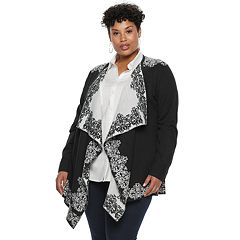 Plus Size Napa Valley Pattern Draped Cardigan
