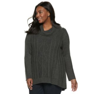 Plus Size Napa Valley Cable-Knit Cowlneck Tunic Sweater