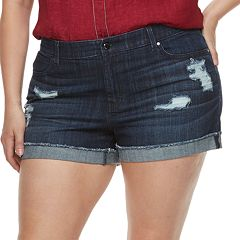 Plus Size Jennifer Lopez Distressed MidRise Denim Shorts