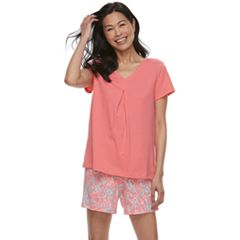 Women's Croft & Barrow® Printed Tee & Shorts Pajama Set