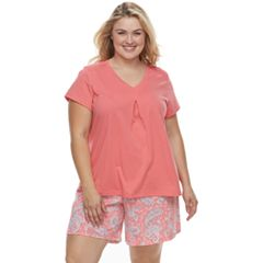 Plus Size Croft & Barrow® Printed Tee & Shorts Pajama Set