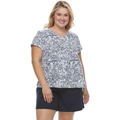 Plus Size Croft & Barrow® Printed Tee & Shorts Pajama Set