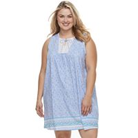 Plus Size Croft & Barrow® Printed Lace Nightgown