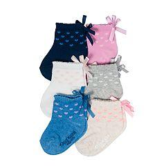 Baby / Toddler Girl OshKosh B'gosh® 6-pack Heart & Bow Quarter Crew Socks