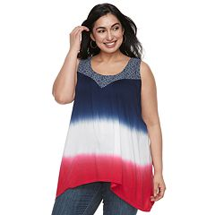Plus Size World Unity Patriotic Crochet Tank