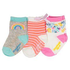 Baby / Toddler Girl OshKosh B'gosh® 3-pack Rainbow, Stripe & Floral Crew Socks